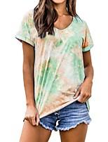 cheap -Women's T-shirt Tie Dye V Neck Tops Summer Wine Blue Purple