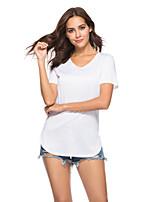 cheap -Women's T-shirt Solid Colored V Neck Tops Basic Summer Wine White Black