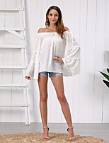 cheap -Women's Blouse Solid Colored Tops - Pleated Off Shoulder Elegant Going out Summer Fall White S M L XL