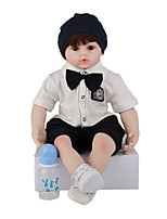 cheap -FeelWind 24 inch Reborn Doll Baby & Toddler Toy Reborn Toddler Doll Baby Boy Gift Cute Lovely Parent-Child Interaction Tipped and Sealed Nails 3/4 Silicone Limbs and Cotton Filled Body LV063 with