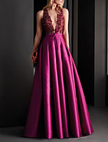 cheap -A-Line Elegant Floral Engagement Formal Evening Dress V Neck Sleeveless Floor Length Satin with Pleats Appliques 2020