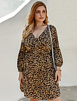 cheap -Women's Shift Dress Knee Length Dress - Long Sleeve Leopard Summer Casual 2020 Brown XL XXL XXXL XXXXL