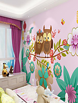 cheap -Custom Self Adhesive Mural Wallpaper Owl Children Cartoon Style Suitable For Bedroom Children's Room School Party Art Deco   Room Wallcovering
