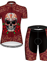 cheap -21Grams Women's Short Sleeve Cycling Jersey with Shorts Nylon Polyester Red Novelty Skull Floral Botanical Bike Clothing Suit Breathable 3D Pad Quick Dry Ultraviolet Resistant Reflective Strips Sports