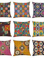 cheap -9 pcs Linen Pillow Cover, Morocco Style Geometric Casual Modern Square Traditional Classic