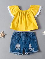 cheap -Kids Toddler Girls' Active Basic Daily Wear Festival Print Ripped Print Short Sleeve Regular Regular Clothing Set Yellow