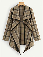 cheap -Women's Trench Coat Daily Regular Plaid Black / Red / Camel S / M / L