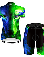 cheap -21Grams Women's Short Sleeve Cycling Jersey with Shorts Nylon Polyester Black / Green Gradient Animal Wolf Bike Clothing Suit Breathable 3D Pad Quick Dry Ultraviolet Resistant Reflective Strips Sports