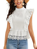 cheap -Women's Blouse Solid Colored Tops - Cut Out Mesh Standing Collar Elegant Daily Summer White S M L XL