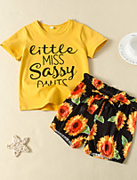 cheap -Kids Girls' Active Basic Daily Wear Festival Sun Flower Floral Print Short Sleeve Regular Regular Clothing Set Yellow
