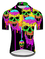 cheap -21Grams Men's Short Sleeve Cycling Jersey Nylon Polyester Violet Gradient Novelty Skull Bike Jersey Top Mountain Bike MTB Road Bike Cycling Breathable Quick Dry Ultraviolet Resistant Sports Clothing