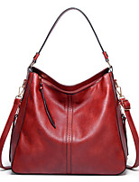cheap -Women's PU Leather Top Handle Bag Leather Bags Solid Color Black / Red / Brown