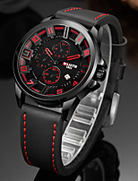 cheap -WLISTH Men's Sport Watch Quartz Sporty Stylish PU Leather Black 30 m Water Resistant / Waterproof Calendar / date / day Analog - Digital Casual Cool - Red Orange Green Two Years Battery Life