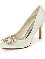 cheap -Women's Wedding Shoes Spring / Summer Stiletto Heel Pointed Toe Sweet Wedding Party & Evening Rhinestone Solid Colored Satin White / Purple / Dark Purple