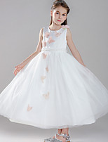 cheap -Ball Gown Round Floor Length Tulle Junior Bridesmaid Dress with Appliques