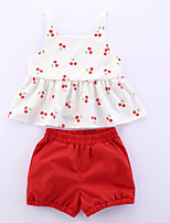 cheap -Toddler Girls' Boho School Festival Cherry Fruit Print Sleeveless Short Short Clothing Set Red