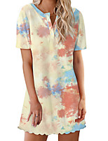 cheap -Women's A-Line Dress Short Mini Dress - Short Sleeves Color Block Tie Dye Print Summer Casual Sexy Daily Going out 2020 White Black Blue Yellow S M L XXL