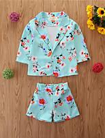 cheap -Baby Girls' Basic Print Long Sleeve Regular Regular Clothing Set Light Green
