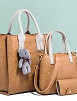 cheap -Women's Zipper PU Bag Set Bag Sets Solid Color Black / Blushing Pink / Dark Coffee