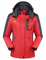cheap -Women's Padded Hiking jacket Outdoor Patchwork Windproof Breathable Warm Comfortable Top Full Length Hidden Zipper Hunting Fishing Climbing Purple / Red / Fuchsia / Green / Blue