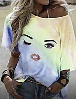 cheap -Women's T-shirt Color Gradient Round Neck Tops Summer Blue Purple Red