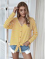 Недорогие -Жен. Блуза Полоски Верхушки - Шнуровка V-образный вырез Классический Повседневные Желтый Коричневый Темно синий S M L XL