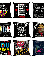 cheap -9 pcs Linen Pillow Cover, Character Casual Modern Square Traditional Classic
