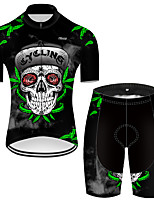 cheap -21Grams Men's Short Sleeve Cycling Jersey with Shorts Nylon Polyester Black / Green Skull Floral Botanical Funny Bike Clothing Suit Breathable 3D Pad Quick Dry Ultraviolet Resistant Reflective Strips