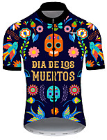 cheap -21Grams Men's Short Sleeve Cycling Jersey Nylon Polyester Black / Orange Skull Floral Botanical Funny Bike Jersey Top Mountain Bike MTB Road Bike Cycling Breathable Quick Dry Ultraviolet Resistant