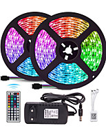 cheap -Waterproof 10M (2*5M) LED Strip Lights RGB Tiktok Lights 2835 600led Strips Lighting Color Changing with 44 Key IR Remote Ideal for Home Kitchen Christmas TV Back Lights DC 12V