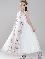 cheap -Ball Gown V Neck Floor Length Tulle Junior Bridesmaid Dress with Embroidery / Appliques