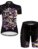 cheap -21Grams Women's Short Sleeve Cycling Jersey with Shorts Nylon Polyester Black / Yellow Novelty Skull Floral Botanical Bike Clothing Suit Breathable 3D Pad Quick Dry Ultraviolet Resistant Reflective
