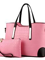 cheap -Women's Zipper PU Bag Set Bag Sets Solid Color Wine / White / Black