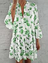 cheap -Women's Shirt Dress Knee Length Dress - 3/4 Length Sleeve Floral Summer Casual Chinoiserie 2020 Light Brown Fuchsia Green S M L XL XXL