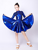 cheap -Latin Dance Kids' Dancewear Dress Pleats Girls' Training Daily Wear Polyester