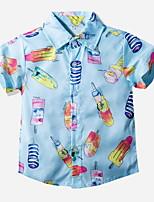 cheap -Kids Toddler Boys' Street chic Geometric Short Sleeve Shirt Light Blue