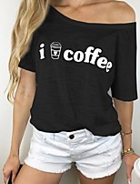 cheap -Women's T-shirt Letter Tops Round Neck Daily Summer Black Gray S M L XL