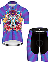 cheap -21Grams Men's Short Sleeve Cycling Jersey with Shorts Nylon Polyester Black / Blue Novelty Skull Floral Botanical Bike Clothing Suit Breathable 3D Pad Quick Dry Ultraviolet Resistant Reflective Strips