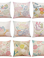 cheap -9 pcs Linen Pillow Cover, Animal Bird Casual Modern Square Traditional Classic
