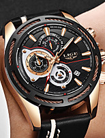 cheap -LIGE Men's Sport Watch Quartz Modern Style Stylish Leather Water Resistant / Waterproof Noctilucent Analog Casual Outdoor - Black+Gloden Black Gold / Stainless Steel