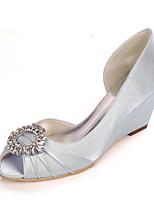 cheap -Women's Wedding Shoes Spring / Summer Wedge Heel Peep Toe Sweet Minimalism Wedding Party & Evening Rhinestone Solid Colored Satin White / Black / Purple