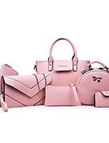 cheap -Women's Zipper PU Bag Set Bag Sets Solid Color Black / Purple / Blushing Pink