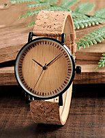 cheap -Men's Sport Watch Quartz Wood 30 m Wooden Day Date Analog Fashion Cool - Yellow One Year Battery Life
