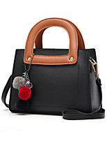 cheap -Women's PU Leather / Polyester Top Handle Bag Leather Bags Color Block Black / Gray / Fall & Winter