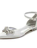 cheap -Women's Wedding Shoes Spring / Summer Flat Heel Pointed Toe Classic Sweet Wedding Party & Evening Rhinestone / Crystal Solid Colored Satin White / Black / Purple