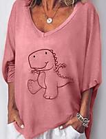 cheap -Women's T-shirt Graphic Tops V Neck Loose Daily Yellow Blushing Pink Gray S M L XL