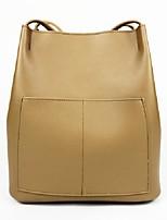 cheap -Women's PU Leather Top Handle Bag Leather Bags Solid Color Black / Blue / Khaki