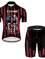 cheap -21Grams Men's Short Sleeve Cycling Jersey with Shorts Nylon Polyester Black / Red Skull American / USA National Flag Bike Clothing Suit Breathable 3D Pad Quick Dry Ultraviolet Resistant Reflective