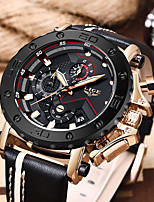 cheap -LIGE Men's Sport Watch Quartz Vintage Style Modern Style Leather Water Resistant / Waterproof Analog Steampunk Cool - Black / Silver Black+Gloden Blue / Stainless Steel
