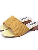 cheap -Women's Slippers & Flip-Flops Summer Block Heel Open Toe Casual Daily Outdoor Knit Yellow / Beige